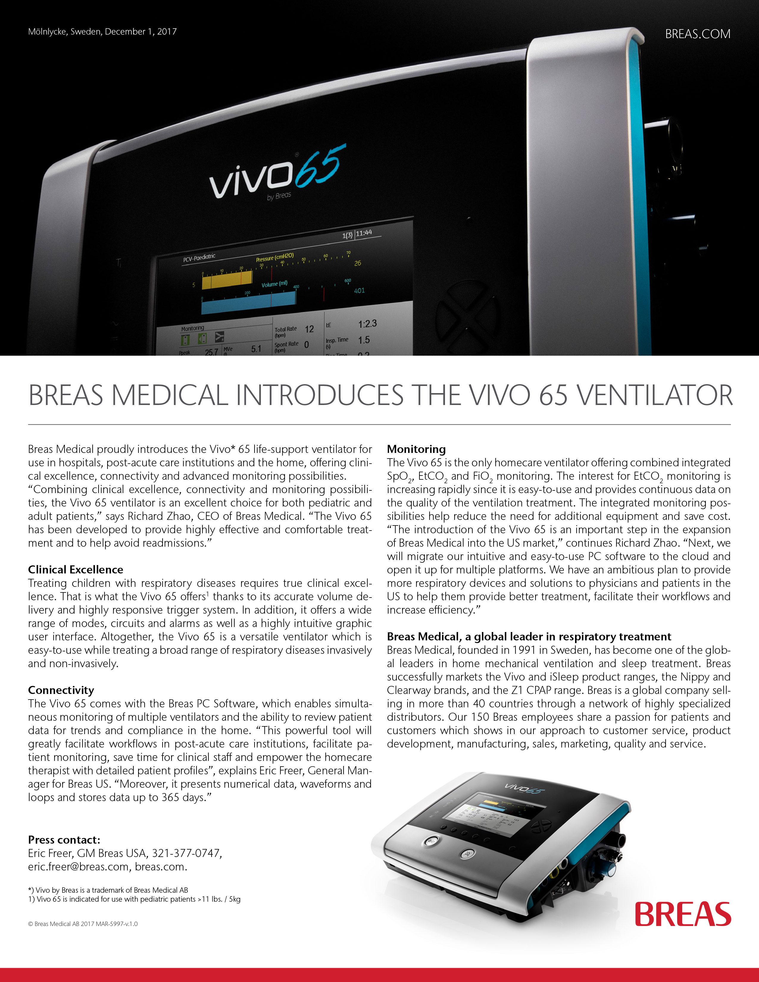 breas medical introduces the vivo 65 ventilator breas rh breas com breas vivo 50 user manual